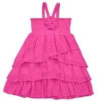 Lele Little Girls Fuchsia Smocked Top Rosette Ruffle Multi Layer Dress
