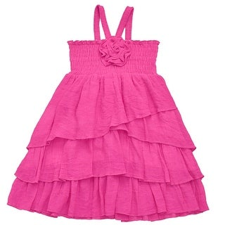 Lele Little Girls Fuchsia Smocked Top Rosette Ruffle Multi Layer Dress