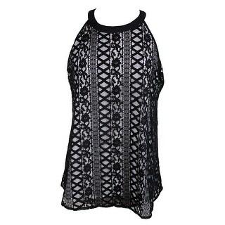 Alfani Black White Lace Halter Top 10