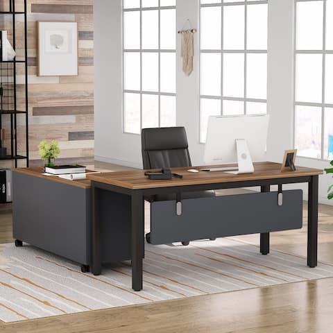 Tribesigns L-Shaped Computer Office Desk with Storage Drawers Cabinet
