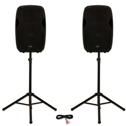 """Acoustic Audio AA15BT Powered 2000 Watts 15"""" Bluetooth Speakers USB and Stands"""