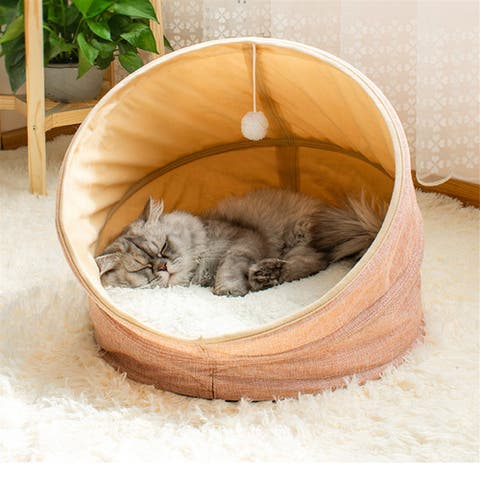 "Folding soft Cashmere Imitation linen Short plush CAT bed PINK - 17.7""x17.7""x16.9"""