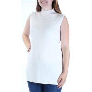 CALVIN KLEIN $80 Womens New 1451 Ivory Turtle Neck Sleeveless Vest Sweater L B+B