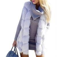 QZUnique Women Sleeveless Faux Fur Vest Waistcoat Jacket