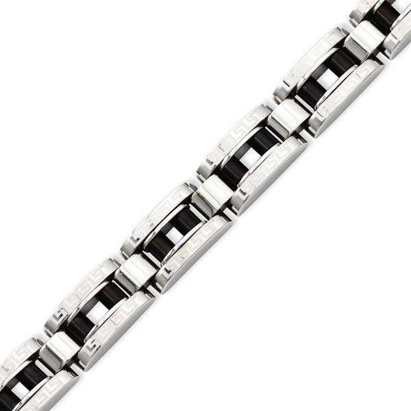 Stainless Steel IP Black-plated & Greek Key 8.5in Bracelet