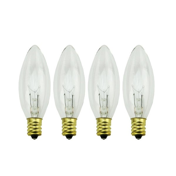 Pack of 4 Candelabra C7 Torpedo Candle Lamp Replacement Light Bulb - 7 Watts - CLEAR