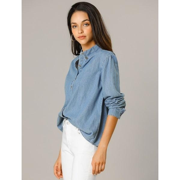 CRYYU Women Fashion Patchwork Long Sleeve Button Up Denim Shirt Blouse with Pockets