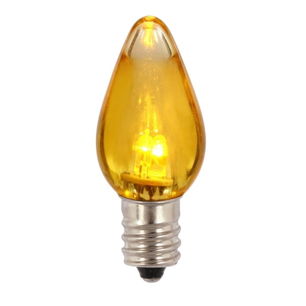 Pack of 25 Yellow Amber LED Transparent Twinkle C9 Christmas Replacement Bulbs