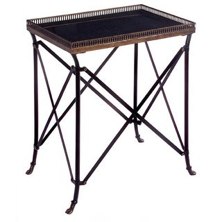 """25"""" Rectangular Black Table with Tray-Like Top"""