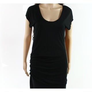 Ann Taylor NEW Black Womens Size Large L Scoop Neck Ruched Tee T-Shirt