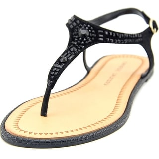 Chinese Laundry Genya Women Open Toe Suede Black Thong Sandal