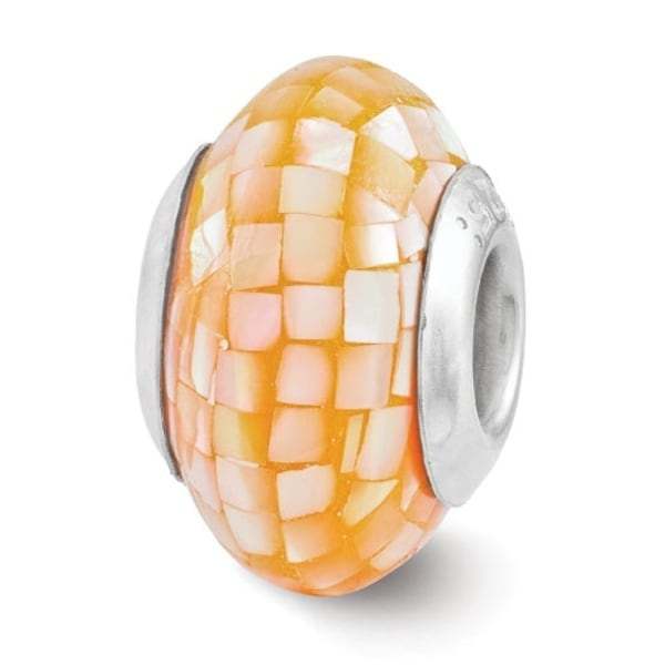 Sterling Silver Reflections Light Orange Mother of Pearl Mosaic Bead (4mm Diameter Hole)