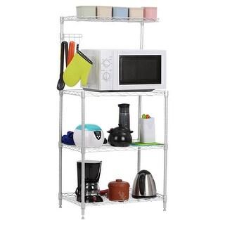 LANGRIA 3-Tier Microwave Shelving Unit with Top Shelf, Sliver Gray