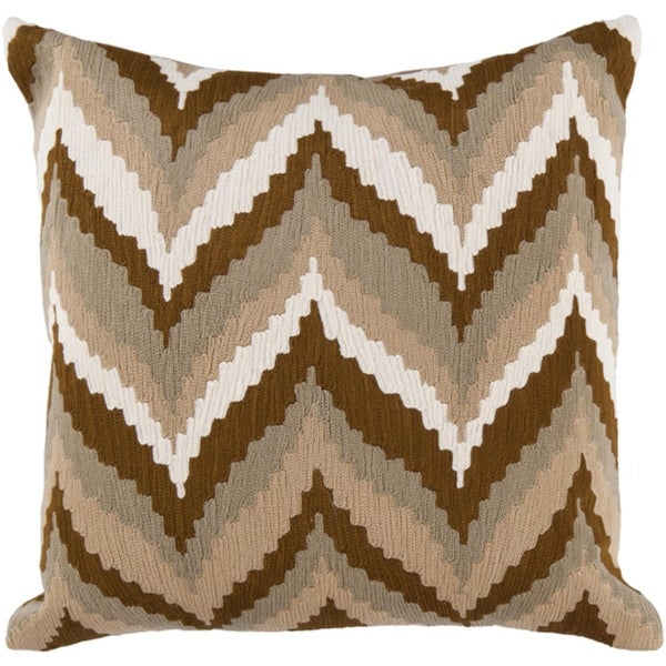 """18"""" Beige and Chocolate Brown Chevron Decorative Square Throw Pillow - Down Filler"""