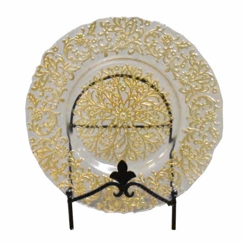 Impeccable Glass Charger Plates With Floral Patten, Clear And Gold