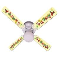 Yellow Baby Blocks Print Blades 42in Ceiling Fan Light Kit - Multi