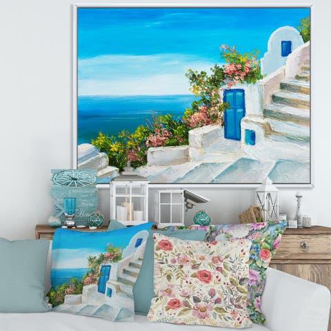 Designart 'House Near The Sea Colorful Flowers IV' Nautical & Coastal Framed Canvas Wall Art Print