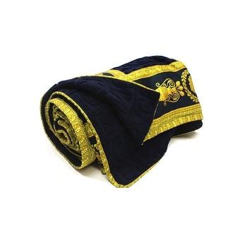 Versace Saint Tropez Medusa Large Beach Towel Throw Navy