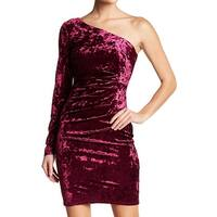 Eliza J Wine Red Women's Velvet One-Shoulder Sheath Dress