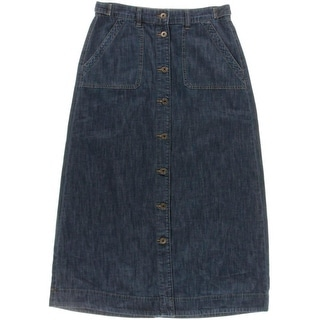 Lauren Ralph Lauren Womens Maxi Skirt Denim Dark Wash