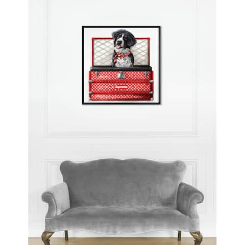 Oliver Gal 'Sweet Fashion Traveler' Dogs and Puppies Framed Wall Art