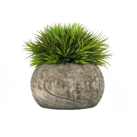MODA MDW-1030-663A wood pot with plastic plant - 11.81*11.81*13.39 inches