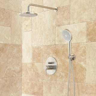 Signature Hardware 931419 Lattimore Shower System with Rainfall Shower Head and Hand Shower - Rough In Included - N/A