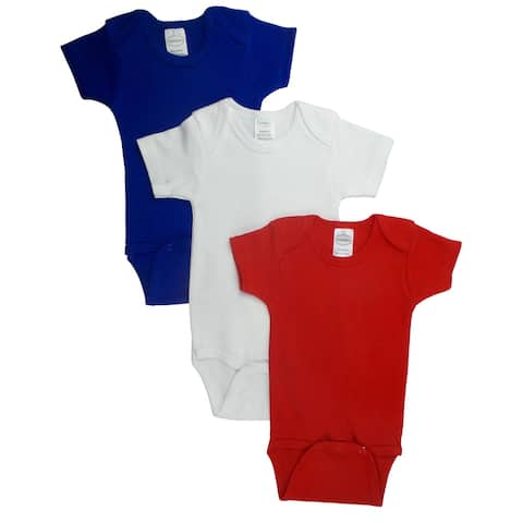 """Pack of 3 Blue, White and Red Large Interlock Short Sleeve Bodysuit Onesies for 12 to 18 Months, 6"""""""
