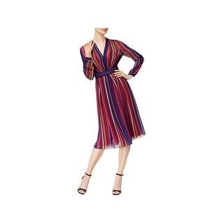 Anne Klein Womens Wear to Work Dress Chiffon Striped