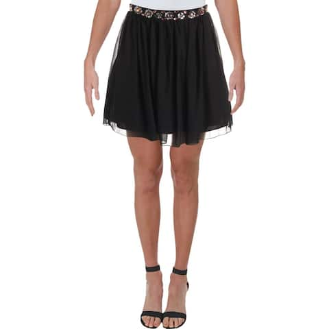 Speechless Womens Juniors Mini Skirt Embellished Party - Black - 3