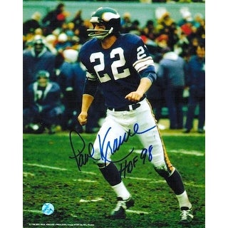 "Autographed Paul Krause Minnesota Vikings 8x10 Photo Inscribed ""HOF 98"""