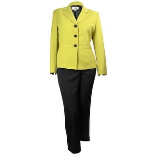 Le Suit Women's Madison Three Button Pant Suit - citrine/black - 18