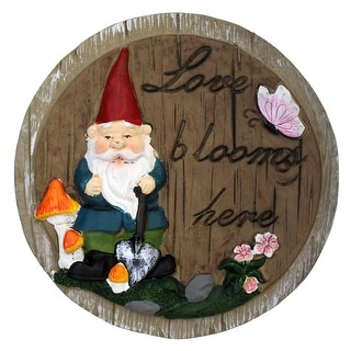 "9.5"" Gnome ""Love Blooms Here"" Brown Outdoor Stepping Stone - N/A"