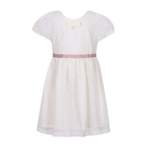 Richie House Little Girls Cream Lace Dress with Bow