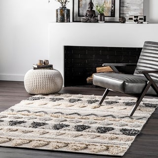 Link to The Curated Nomad Diamond Heights Wool Tribal Dot Trellis Raised Shag Area Rug Similar Items in Dining Room & Bar Furniture