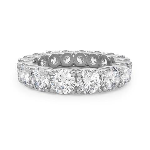 Amcor Design 14KT White Gold 4.25 CT Round Cut Diamond Fishtail Eternity Anniversary Ring