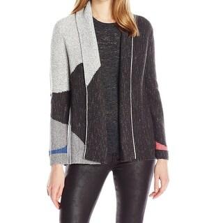 Nic + Zoe NEW Gray Women Size Large L Colorblock Knit Cardigan Sweater