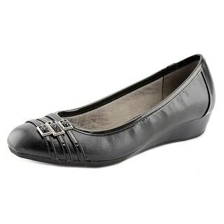 Life Stride Farrow Women Open Toe Synthetic Black Wedge Heel