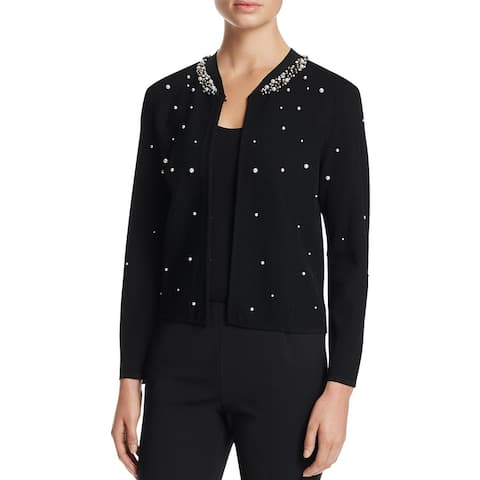Finity Womens Cardigan Sweater Ribbed Knit Embellished