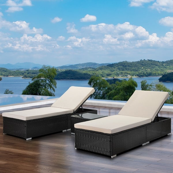 3 Piece Wicker Patio Chaise Lounge Set. Opens flyout.