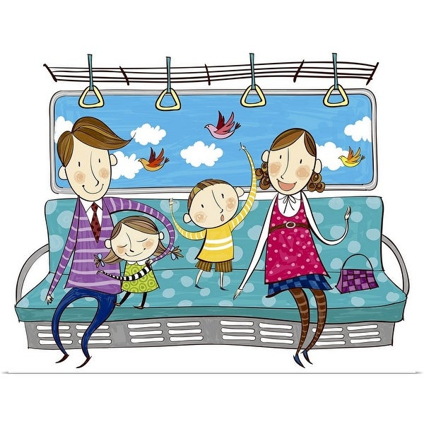 """""""Portrait of happy family sitting on sofa in Train"""" Poster Print"""