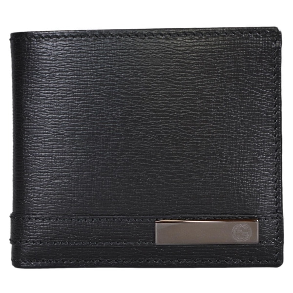 Gucci Men's 365479 Black Leather GG Bar Logo Bifold Wallet