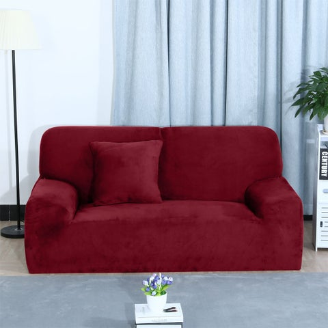 Unique Bargains Burgundy L-Shaped Stretch Sofa Covers Couch Sofa Slipcovers