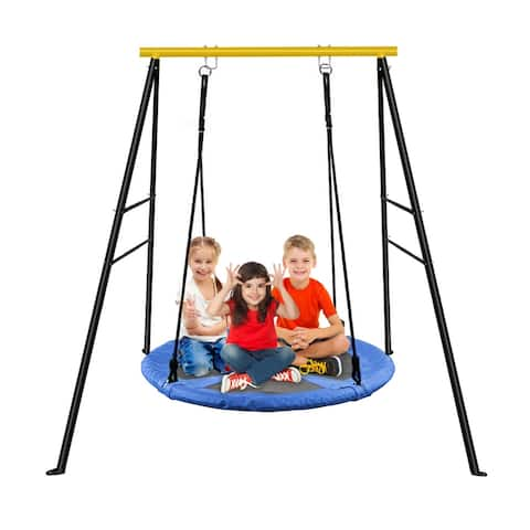 A-Frame Swing Frame Metal Swing Stand with Ground Nail For Backyard (Only Swing Frame)