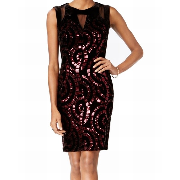 b43106902c0 Shop Jax NEW Black Red Women 8 Sequin-Embellished Illusion Sheath Dress -  Free Shipping Today - Overstock - 20504868