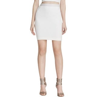 Rebecca Minkoff Womens Pencil Skirt Textured Leather Trim - 0