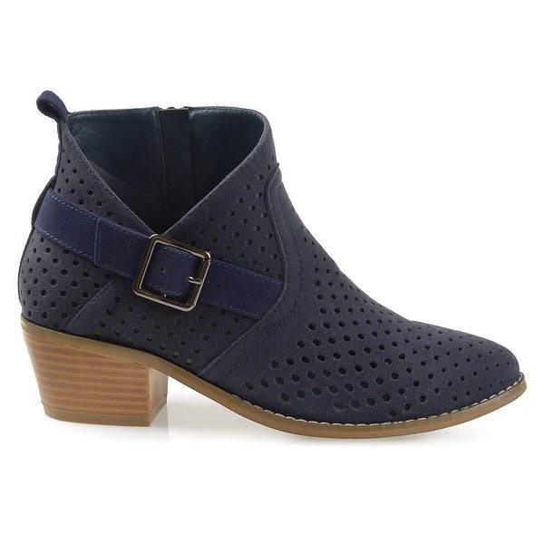 b88fe8f7f7 Brinley Co. Womens Perforated Faux Suede Stacked Heel Asymmetrical Booties