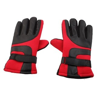 Motorcycle Electric Car Anti-skid Adjustable Warm Gloves Red Black Pair