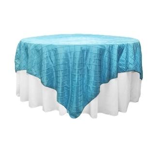 "Pintuck 90""x90"" square Table Overlay - Aqua Blue"