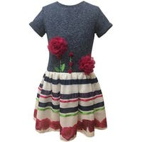 Caeli Kids Little Girls Navy White Top Floral Striped Skirt Casual Dress